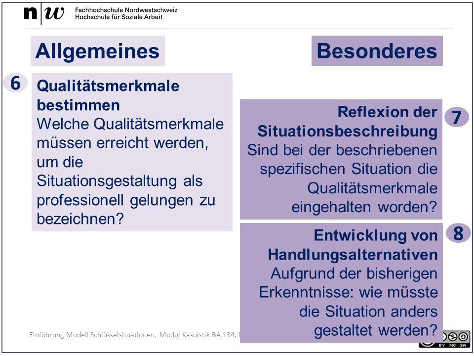 Einführung Modell Schlüsselsituationen, Modul Kasuistik BA 134, November 2014, Regula Kunz AllgemeinesBesonderes Qualitätsmerkmale bestimmen Welche Qualitätsmerkmale müssen erreicht werden, um die Situationsgestaltung als professionell gelungen zu bezeichnen.