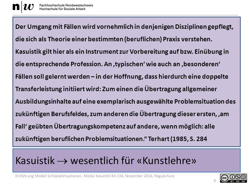 Einführung Modell Schlüsselsituationen, Modul Kasuistik BA 134, November 2014, Regula Kunz Kasuistik  wesentlich für «Kunstlehre» Der Umgang mit Fällen wird vornehmlich in denjenigen Disziplinen gepflegt, die sich als Theorie einer bestimmten (beruflichen) Praxis verstehen.