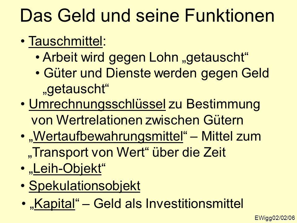 """Das Geld und seine Funktionen EWigg02/02/06 Tauschmittel: Arbeit wird gegen Lohn """"getauscht"""" Güter und Dienste werden gegen Geld """"getauscht"""" Umrechnun"""