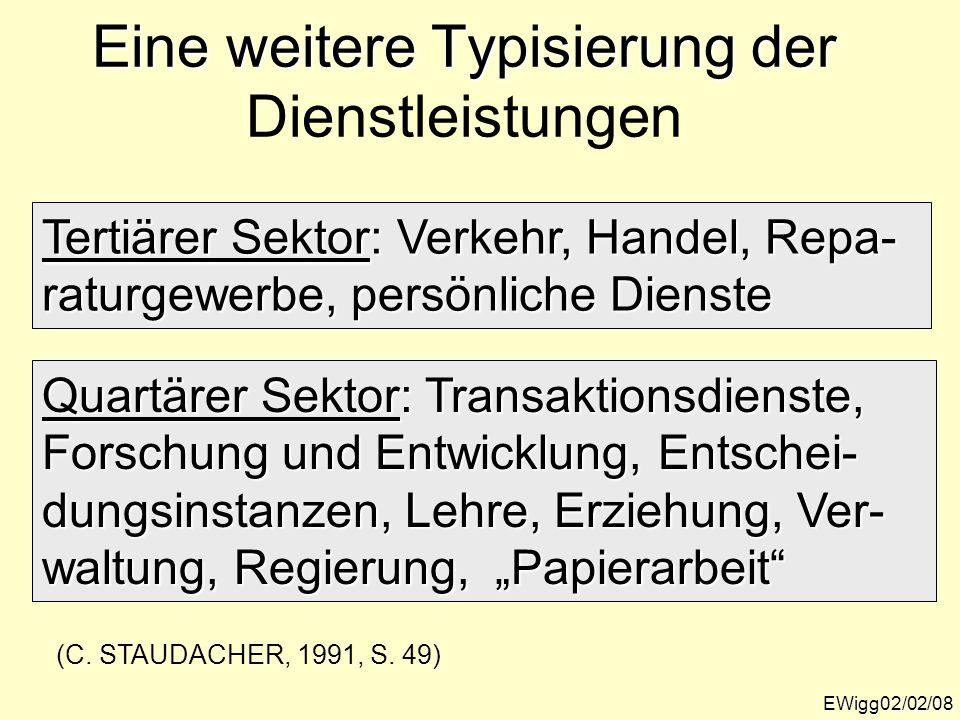 Eine weitere Typisierung der Eine weitere Typisierung der Dienstleistungen EWigg02/02/08 Tertiärer Sektor: Verkehr, Handel, Repa- raturgewerbe, persön