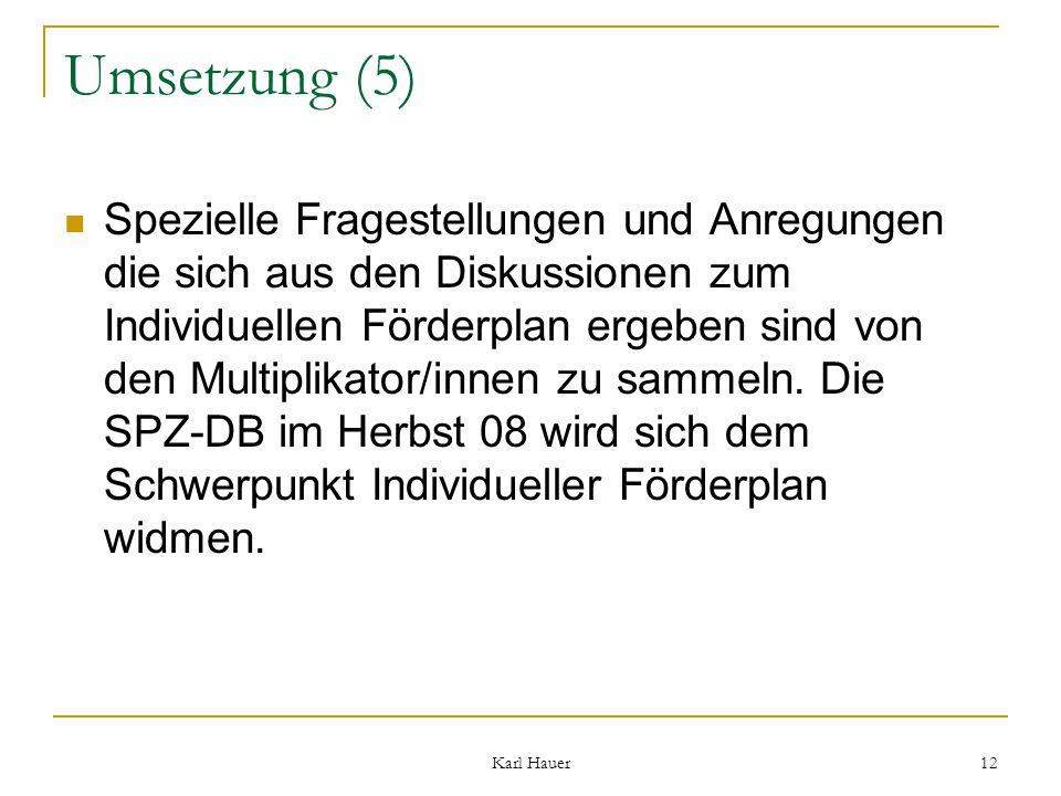 Karl Hauer 12 Umsetzung (5) Spezielle Fragestellungen und Anregungen die sich aus den Diskussionen zum Individuellen Förderplan ergeben sind von den Multiplikator/innen zu sammeln.