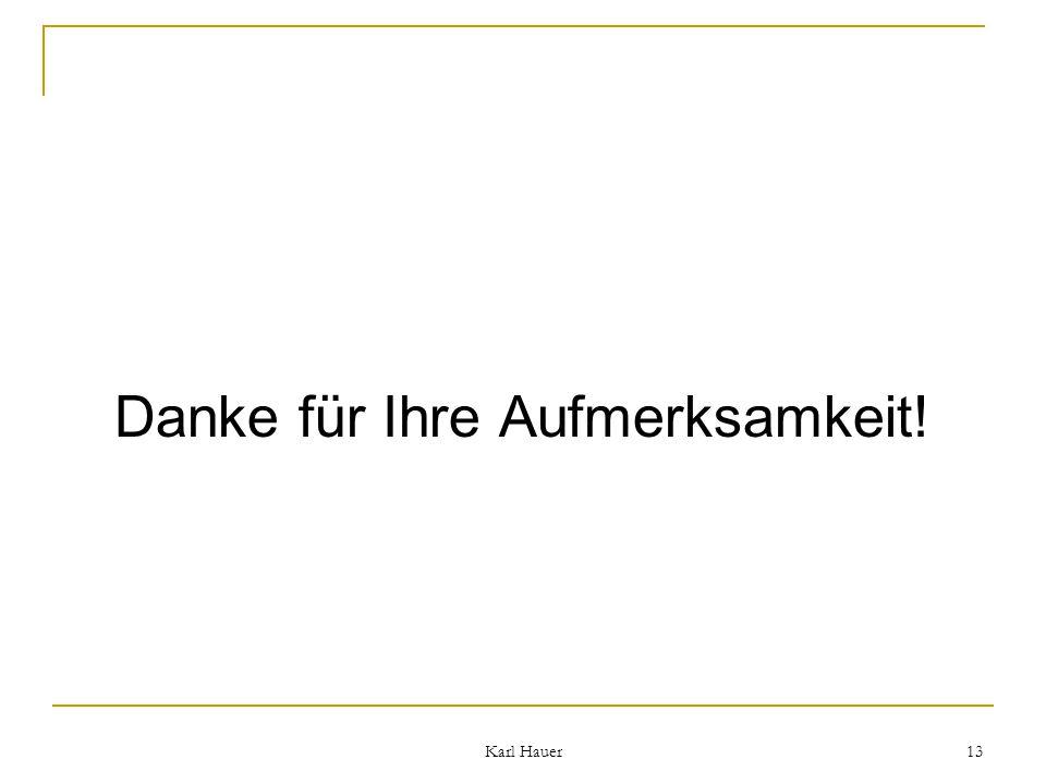 Karl Hauer 13 Danke für Ihre Aufmerksamkeit!