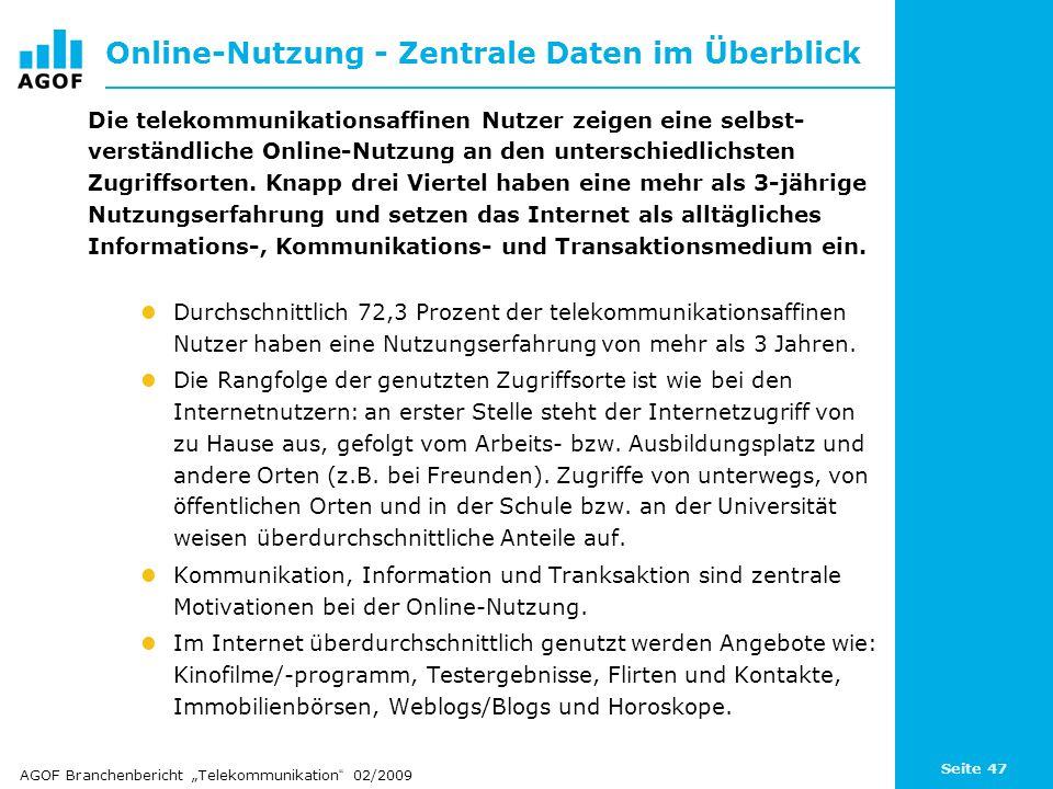 Seite 47 Online-Nutzung - Zentrale Daten im Überblick Die telekommunikationsaffinen Nutzer zeigen eine selbst- verständliche Online-Nutzung an den unterschiedlichsten Zugriffsorten.