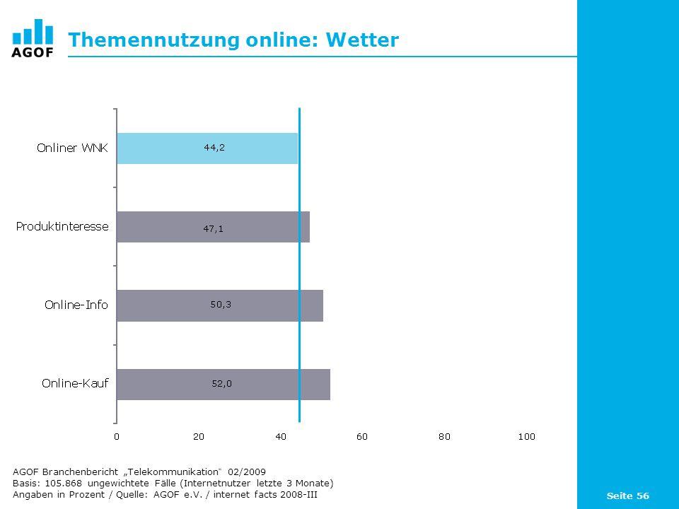 Seite 56 Themennutzung online: Wetter Basis: 105.868 ungewichtete Fälle (Internetnutzer letzte 3 Monate) Angaben in Prozent / Quelle: AGOF e.V.