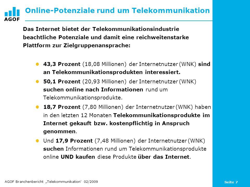 Seite 7 Online-Potenziale rund um Telekommunikation Das Internet bietet der Telekommunikationsindustrie beachtliche Potenziale und damit eine reichweitenstarke Plattform zur Zielgruppenansprache: 43,3 Prozent (18,08 Millionen) der Internetnutzer (WNK) sind an Telekommunikationsprodukten interessiert.