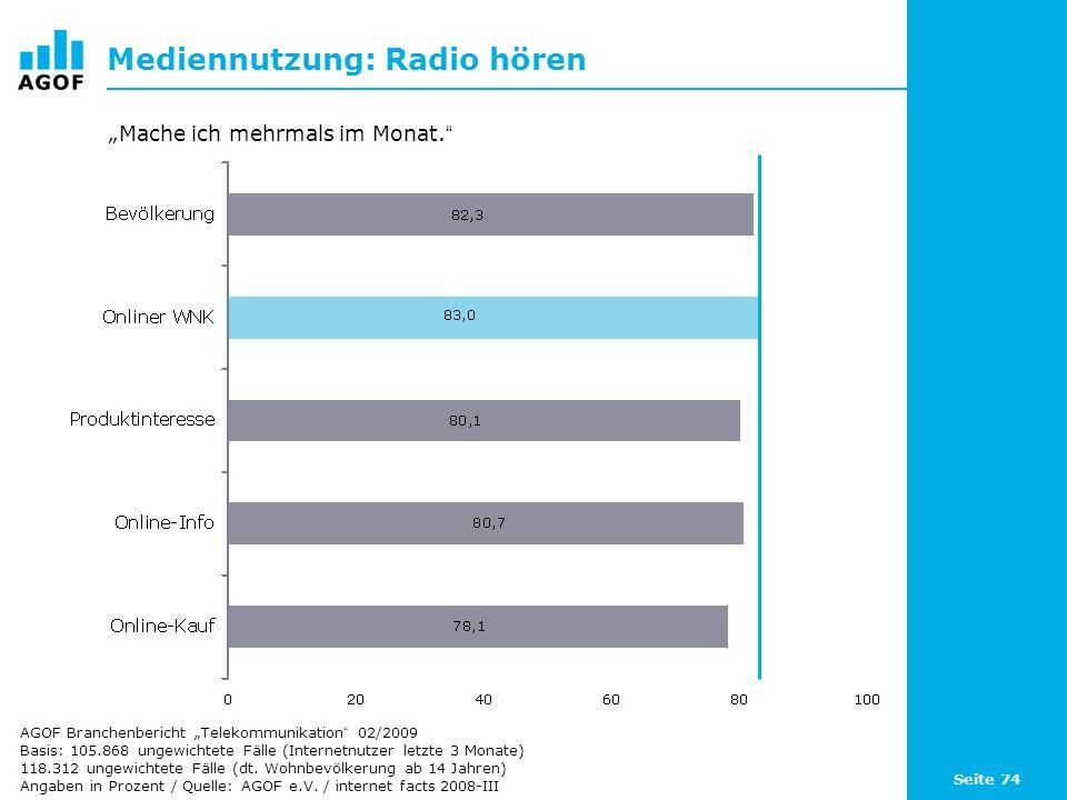 Seite 74 Mediennutzung: Radio hören Basis: 105.868 ungewichtete Fälle (Internetnutzer letzte 3 Monate) 118.312 ungewichtete Fälle (dt.
