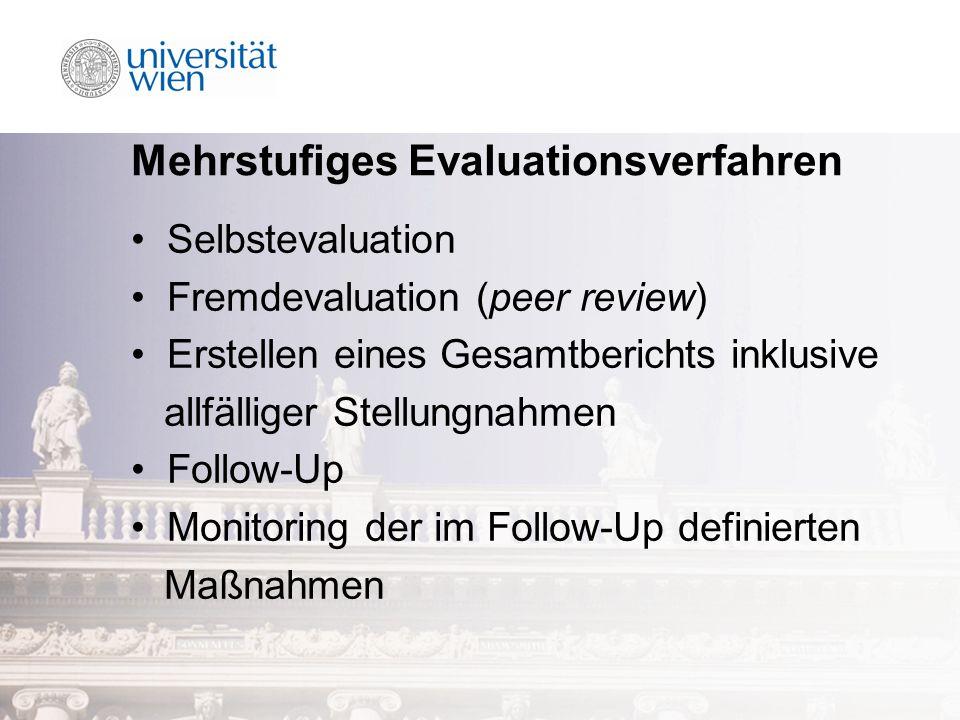 Mehrstufiges Evaluationsverfahren Selbstevaluation Fremdevaluation (peer review) Erstellen eines Gesamtberichts inklusive allfälliger Stellungnahmen Follow-Up Monitoring der im Follow-Up definierten Maßnahmen