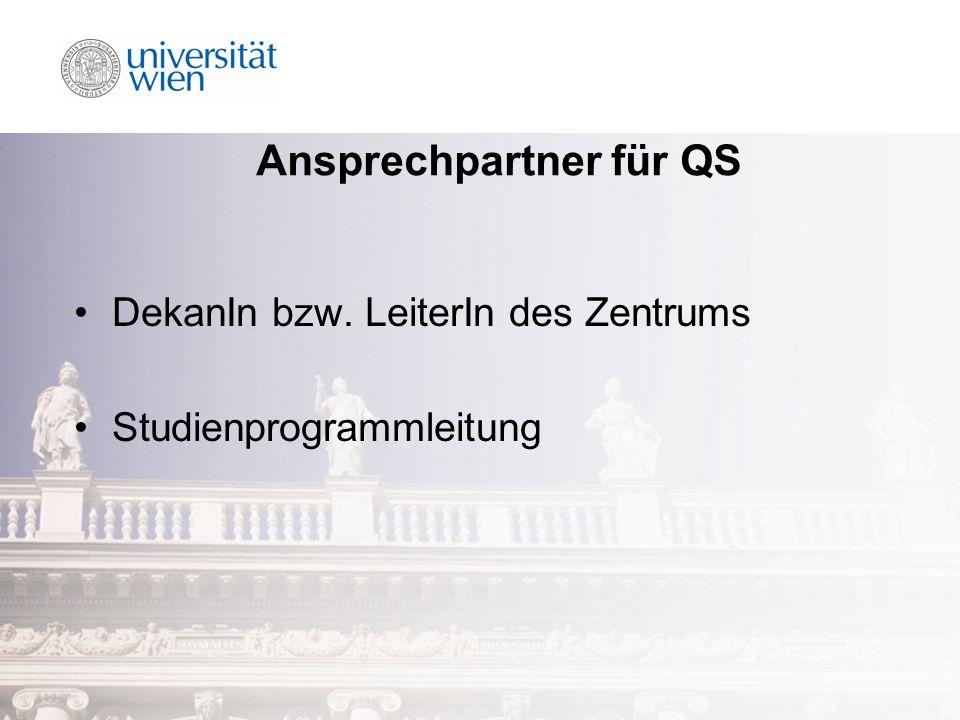 Ansprechpartner für QS DekanIn bzw. LeiterIn des Zentrums Studienprogrammleitung