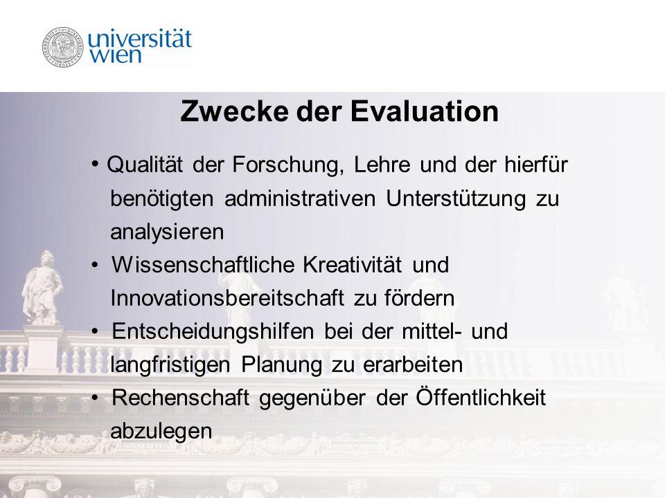 Zwecke der Evaluation Qualität der Forschung, Lehre und der hierfür benötigten administrativen Unterstützung zu analysieren Wissenschaftliche Kreativität und Innovationsbereitschaft zu fördern Entscheidungshilfen bei der mittel- und langfristigen Planung zu erarbeiten Rechenschaft gegenüber der Öffentlichkeit abzulegen