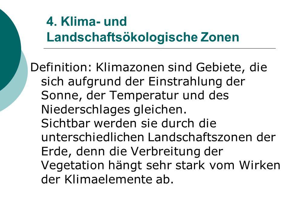 4. Klima- und Landschaftsökologische Zonen Definition: Klimazonen sind Gebiete, die sich aufgrund der Einstrahlung der Sonne, der Temperatur und des N