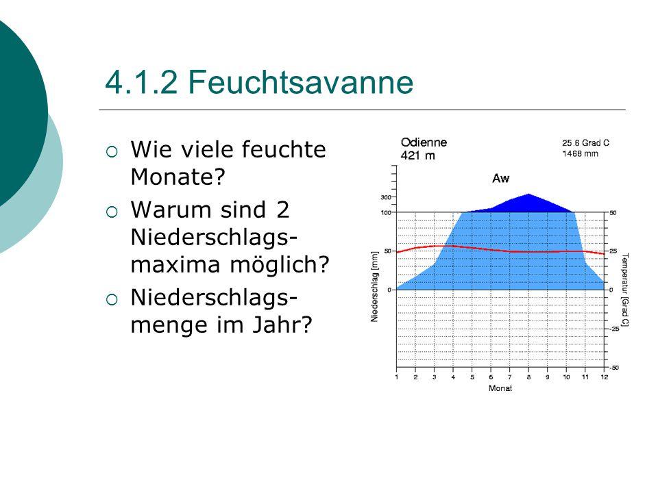 4.1.2 Feuchtsavanne  Wie viele feuchte Monate?  Warum sind 2 Niederschlags- maxima möglich?  Niederschlags- menge im Jahr?