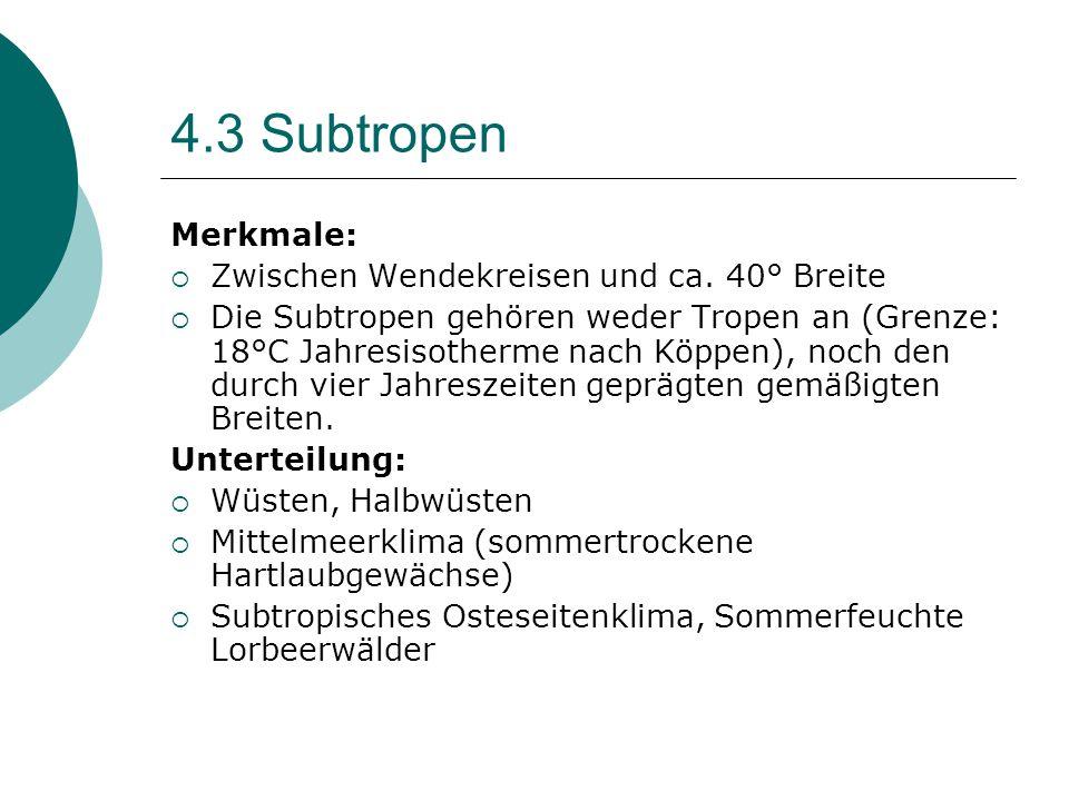 4.3 Subtropen Merkmale:  Zwischen Wendekreisen und ca. 40° Breite  Die Subtropen gehören weder Tropen an (Grenze: 18°C Jahresisotherme nach Köppen),