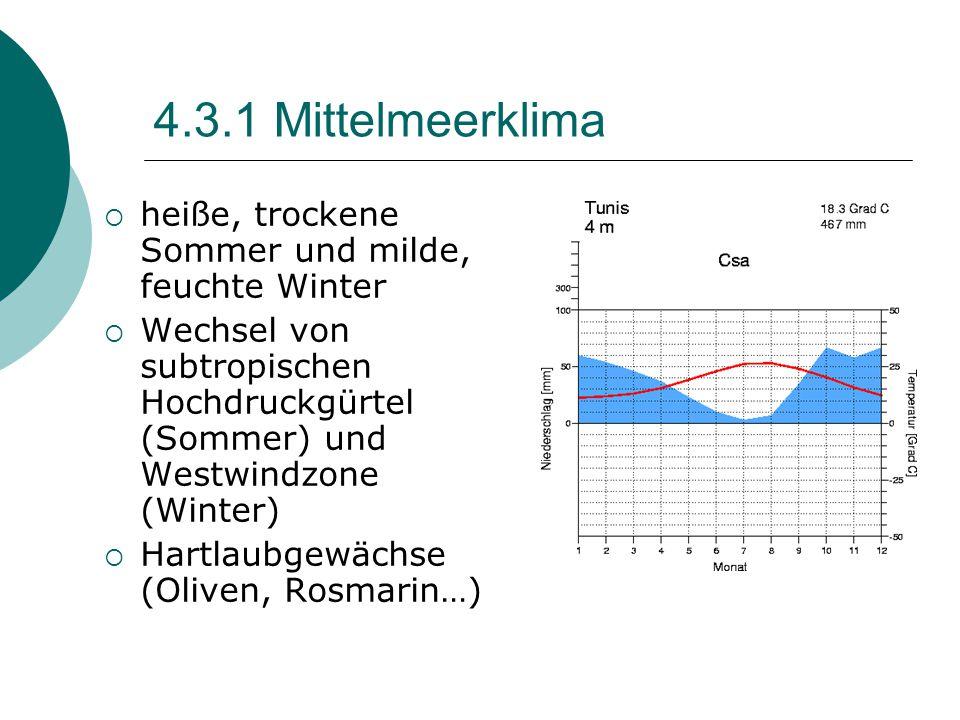 4.3.1 Mittelmeerklima  heiße, trockene Sommer und milde, feuchte Winter  Wechsel von subtropischen Hochdruckgürtel (Sommer) und Westwindzone (Winter