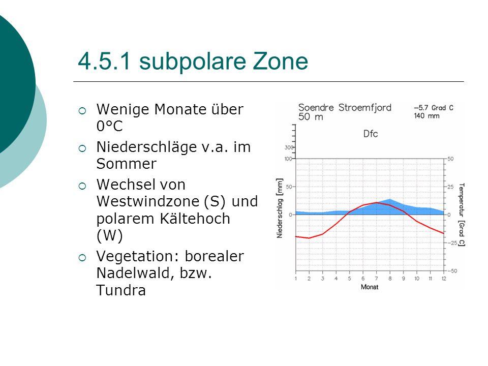 4.5.1 subpolare Zone  Wenige Monate über 0°C  Niederschläge v.a. im Sommer  Wechsel von Westwindzone (S) und polarem Kältehoch (W)  Vegetation: bo