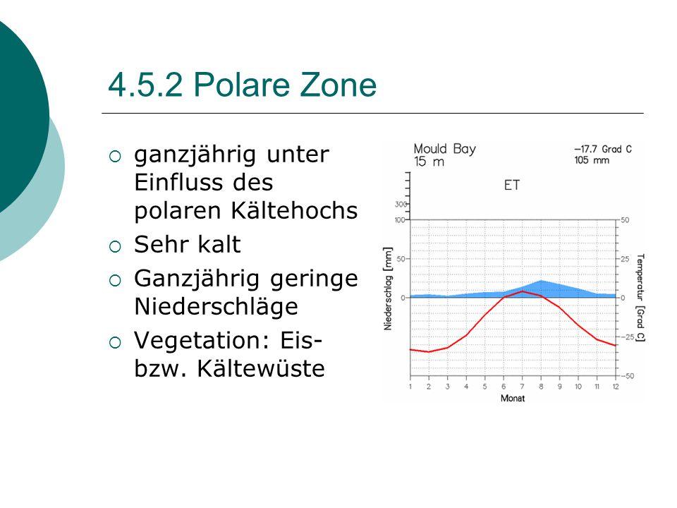 4.5.2 Polare Zone  ganzjährig unter Einfluss des polaren Kältehochs  Sehr kalt  Ganzjährig geringe Niederschläge  Vegetation: Eis- bzw. Kältewüste