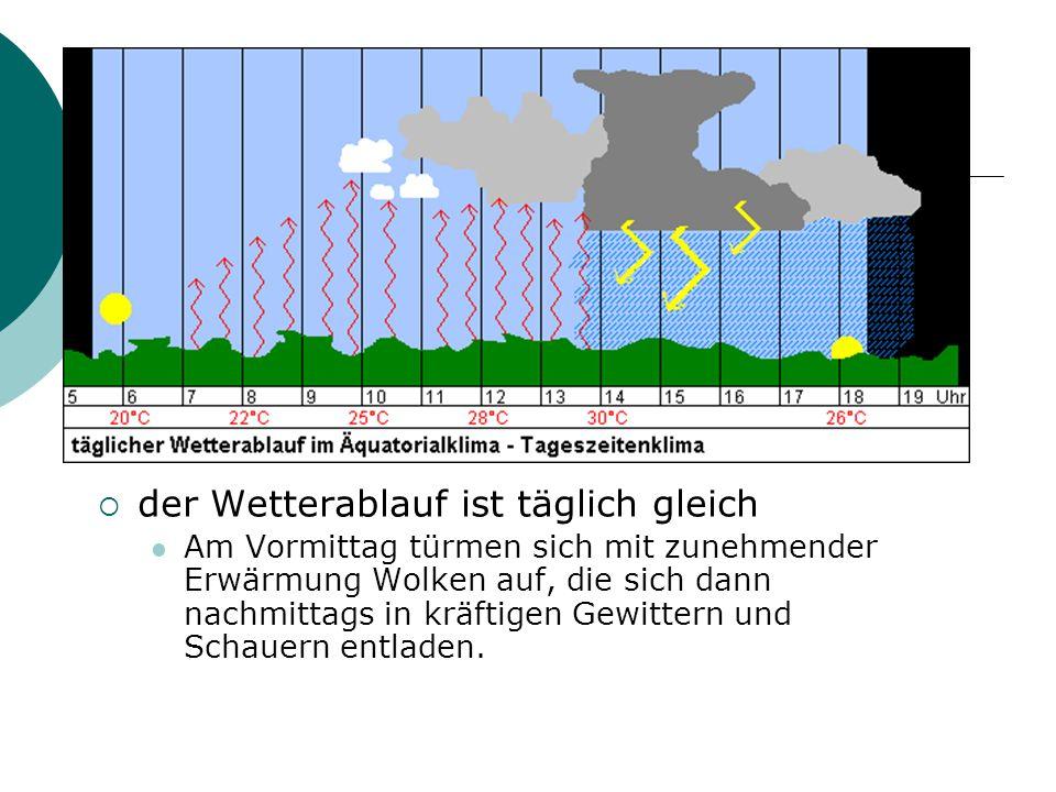  der Wetterablauf ist täglich gleich Am Vormittag türmen sich mit zunehmender Erwärmung Wolken auf, die sich dann nachmittags in kräftigen Gewittern