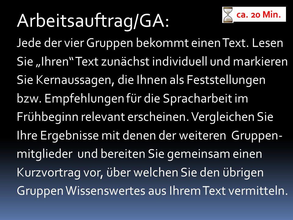 """Arbeitsauftrag/GA: Jede der vier Gruppen bekommt einen Text. Lesen Sie """"Ihren"""" Text zunächst individuell und markieren Sie Kernaussagen, die Ihnen als"""