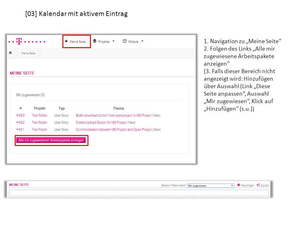 """[03] Kalendar mit aktivem Eintrag 1. Navigation zu """"Meine Seite 2."""