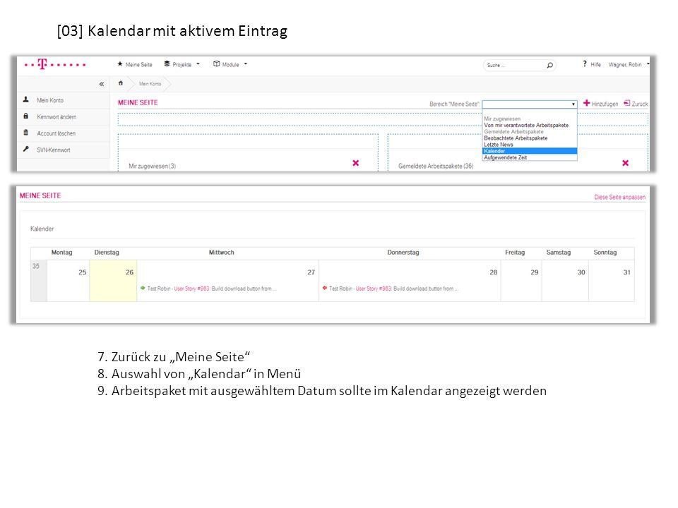 """7. Zurück zu """"Meine Seite 8. Auswahl von """"Kalendar in Menü 9."""