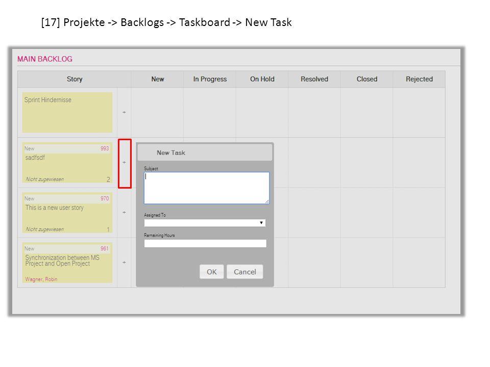[20] Projekte -> Backlogs -> Taskboard