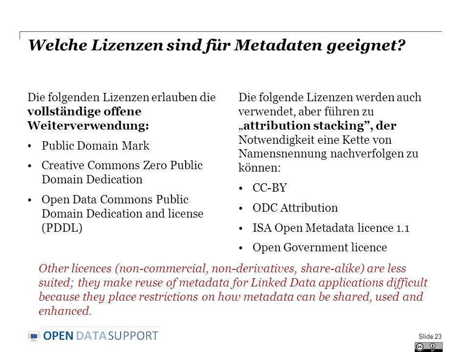 Welche Lizenzen sind für Metadaten geeignet? Die folgenden Lizenzen erlauben die vollständige offene Weiterverwendung: Public Domain Mark Creative Com