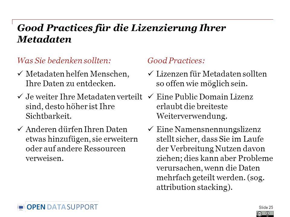 Good Practices für die Lizenzierung Ihrer Metadaten Was Sie bedenken sollten: Metadaten helfen Menschen, Ihre Daten zu entdecken. Je weiter Ihre Metad