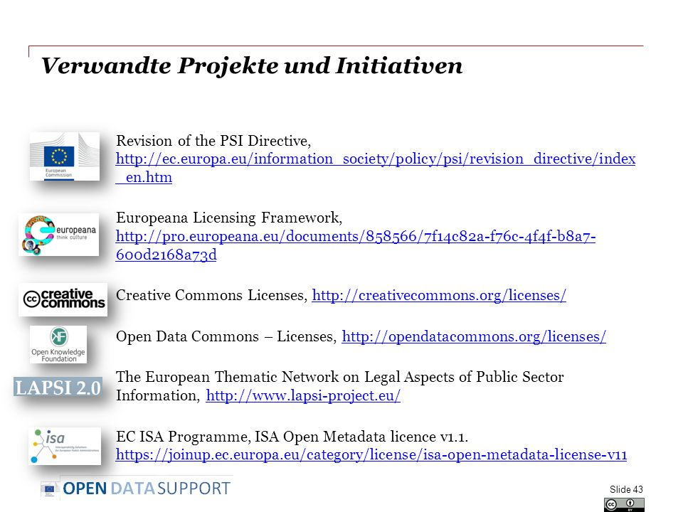 Verwandte Projekte und Initiativen Revision of the PSI Directive, http://ec.europa.eu/information_society/policy/psi/revision_directive/index _en.htm