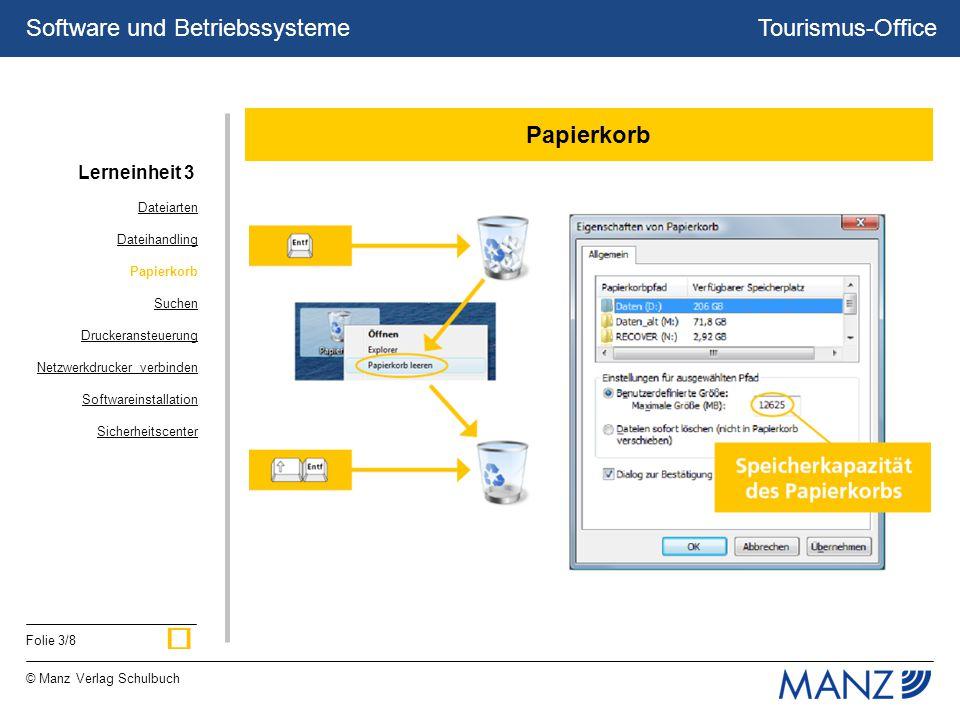 Tourismus-Office © Manz Verlag Schulbuch Folie 3/8 Software und Betriebssysteme Papierkorb Dateiarten Dateihandling Papierkorb Suchen Druckeransteuerung Netzwerkdrucker verbinden Softwareinstallation Sicherheitscenter Lerneinheit 3