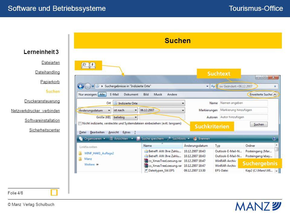 Tourismus-Office © Manz Verlag Schulbuch Folie 4/8 Software und Betriebssysteme Suchen Dateiarten Dateihandling Papierkorb Suchen Druckeransteuerung Netzwerkdrucker verbinden Softwareinstallation Sicherheitscenter Lerneinheit 3