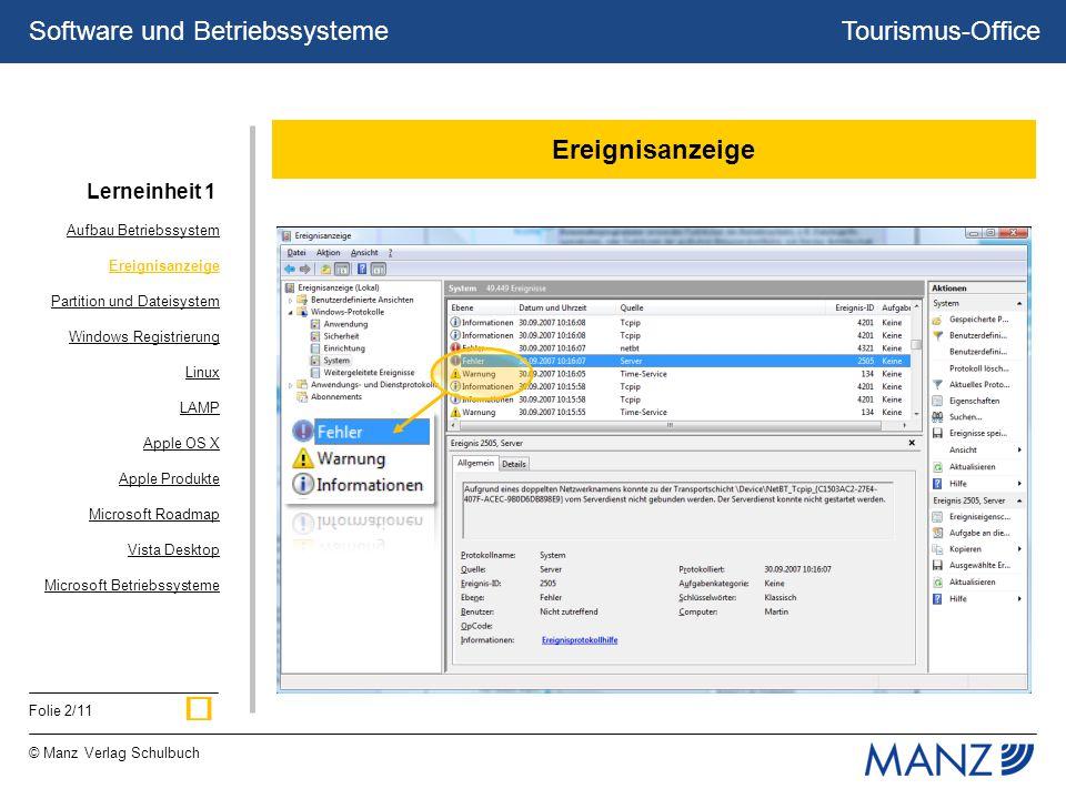 Tourismus-Office © Manz Verlag Schulbuch Folie 2/11 Software und Betriebssysteme Ereignisanzeige Aufbau Betriebssystem Ereignisanzeige Partition und D