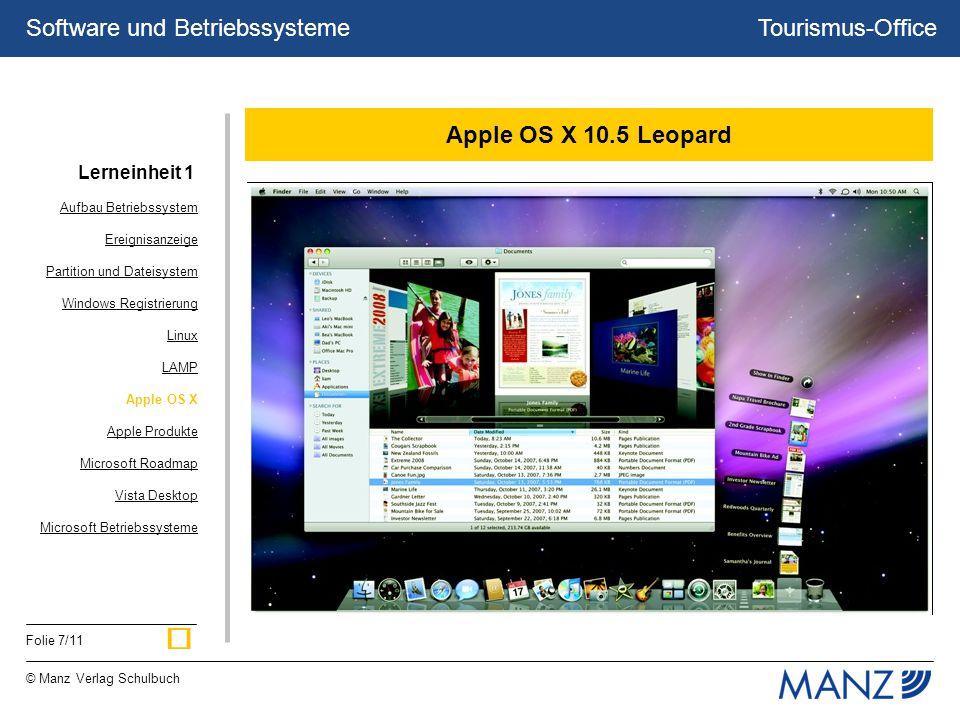 Tourismus-Office © Manz Verlag Schulbuch Folie 7/11 Software und Betriebssysteme Apple OS X 10.5 Leopard Aufbau Betriebssystem Ereignisanzeige Partiti
