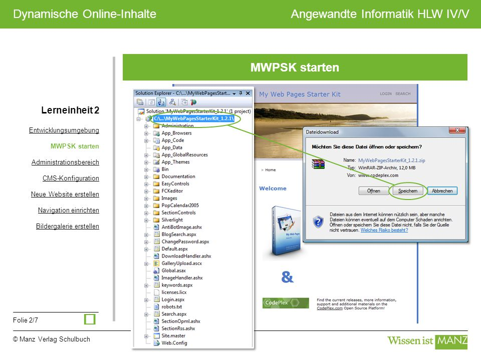 © Manz Verlag Schulbuch Angewandte Informatik HLW IV/V Folie 2/7 Dynamische Online-Inhalte MWPSK starten Lerneinheit 2 Entwicklungsumgebung MWPSK star