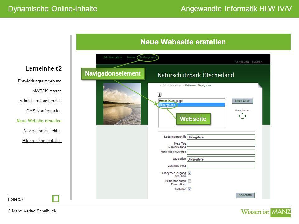 © Manz Verlag Schulbuch Angewandte Informatik HLW IV/V Folie 5/7 Dynamische Online-Inhalte Neue Webseite erstellen Navigationselement Webseite Lernein