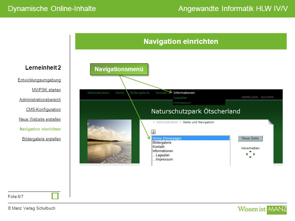 © Manz Verlag Schulbuch Angewandte Informatik HLW IV/V Folie 6/7 Dynamische Online-Inhalte Navigation einrichten Navigationsmenü Lerneinheit 2 Entwick