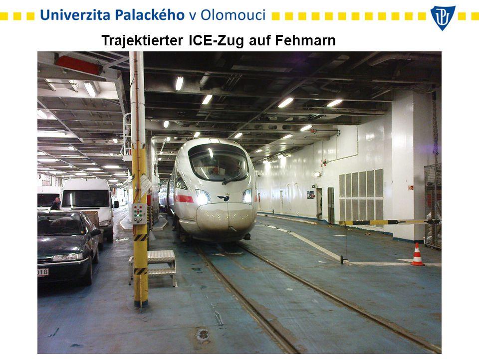 Trajektierter ICE-Zug auf Fehmarn