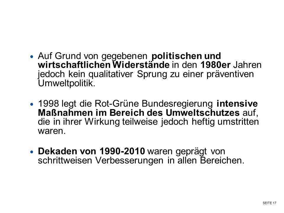 SEITE 17 Auf Grund von gegebenen politischen und wirtschaftlichen Widerstände in den 1980er Jahren jedoch kein qualitativer Sprung zu einer präventive