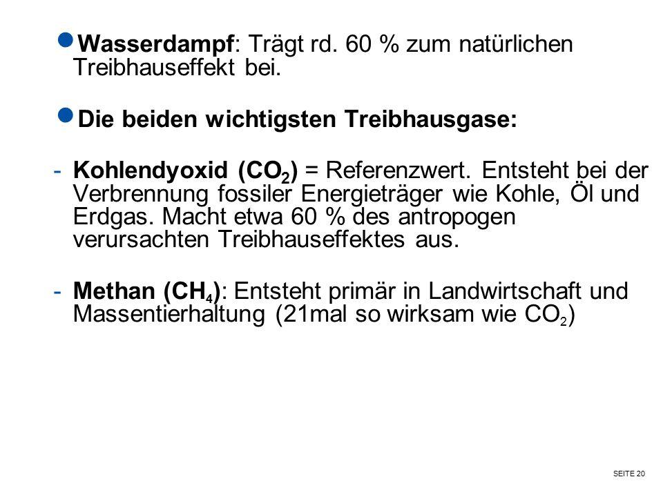 SEITE 20 Wasserdampf: Trägt rd. 60 % zum natürlichen Treibhauseffekt bei. Die beiden wichtigsten Treibhausgase: -Kohlendyoxid (CO 2 ) = Referenzwert.