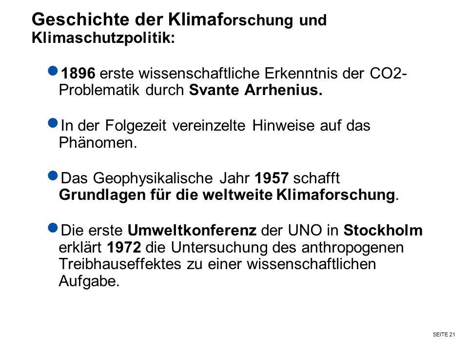 SEITE 21 Geschichte der Klimaf orschung und Klimaschutzpolitik: 1896 erste wissenschaftliche Erkenntnis der CO2- Problematik durch Svante Arrhenius. I