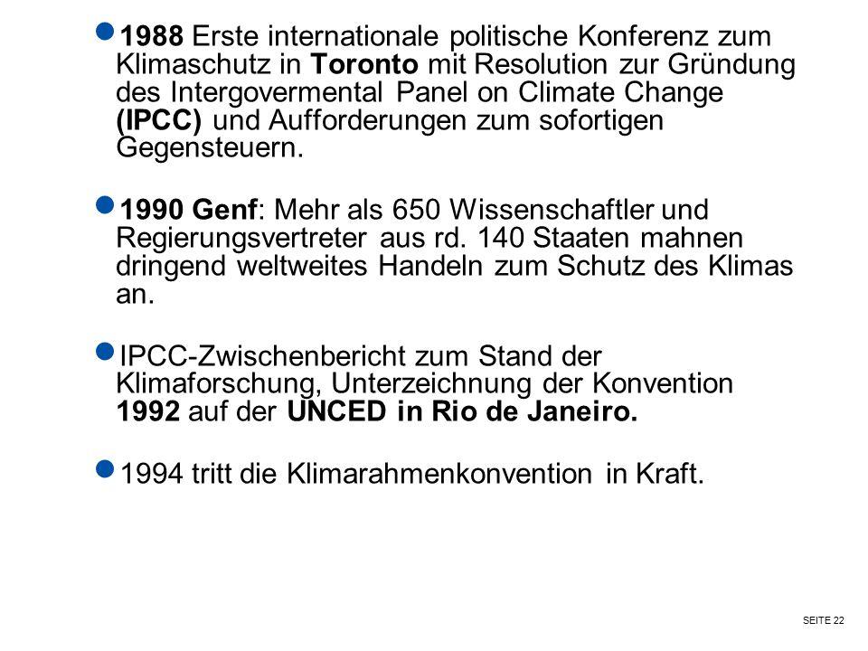 SEITE 22 1988 Erste internationale politische Konferenz zum Klimaschutz in Toronto mit Resolution zur Gründung des Intergovermental Panel on Climate C