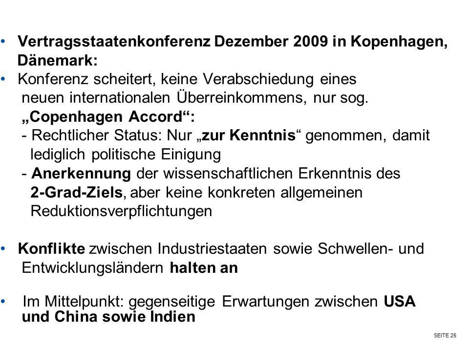SEITE 25 Vertragsstaatenkonferenz Dezember 2009 in Kopenhagen, Dänemark: Konferenz scheitert, keine Verabschiedung eines neuen internationalen Überrei