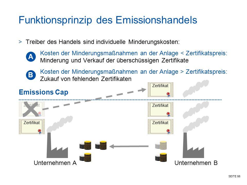 SEITE 56 Funktionsprinzip des Emissionshandels >Treiber des Handels sind individuelle Minderungskosten: Kosten der Minderungsmaßnahmen an der Anlage <