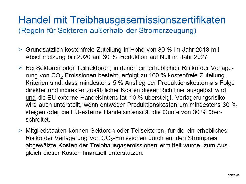 SEITE 62 Handel mit Treibhausgasemissionszertifikaten (Regeln für Sektoren außerhalb der Stromerzeugung) >Grundsätzlich kostenfreie Zuteilung in Höhe