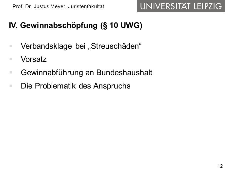 """12 Prof. Dr. Justus Meyer, Juristenfakultät IV. Gewinnabschöpfung (§ 10 UWG)  Verbandsklage bei """"Streuschäden""""  Vorsatz  Gewinnabführung an Bundesh"""