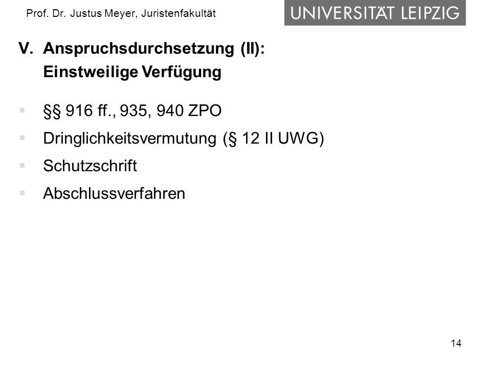 14 Prof. Dr. Justus Meyer, Juristenfakultät V.Anspruchsdurchsetzung (II): Einstweilige Verfügung  §§ 916 ff., 935, 940 ZPO  Dringlichkeitsvermutung