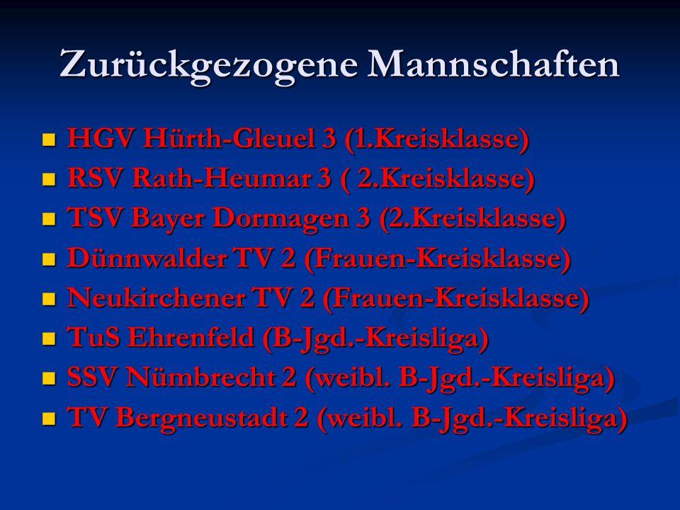 Zurückgezogene Mannschaften HGV Hürth-Gleuel 3 (1.Kreisklasse) HGV Hürth-Gleuel 3 (1.Kreisklasse) RSV Rath-Heumar 3 ( 2.Kreisklasse) RSV Rath-Heumar 3