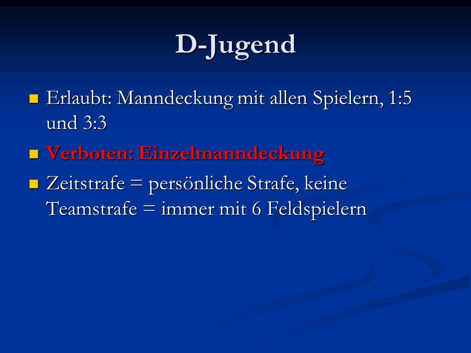 D-Jugend Erlaubt: Manndeckung mit allen Spielern, 1:5 und 3:3 Erlaubt: Manndeckung mit allen Spielern, 1:5 und 3:3 Verboten: Einzelmanndeckung Verbote