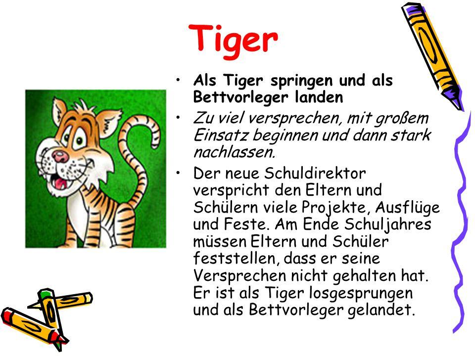 Tiger Als Tiger springen und als Bettvorleger landen Zu viel versprechen, mit großem Einsatz beginnen und dann stark nachlassen.