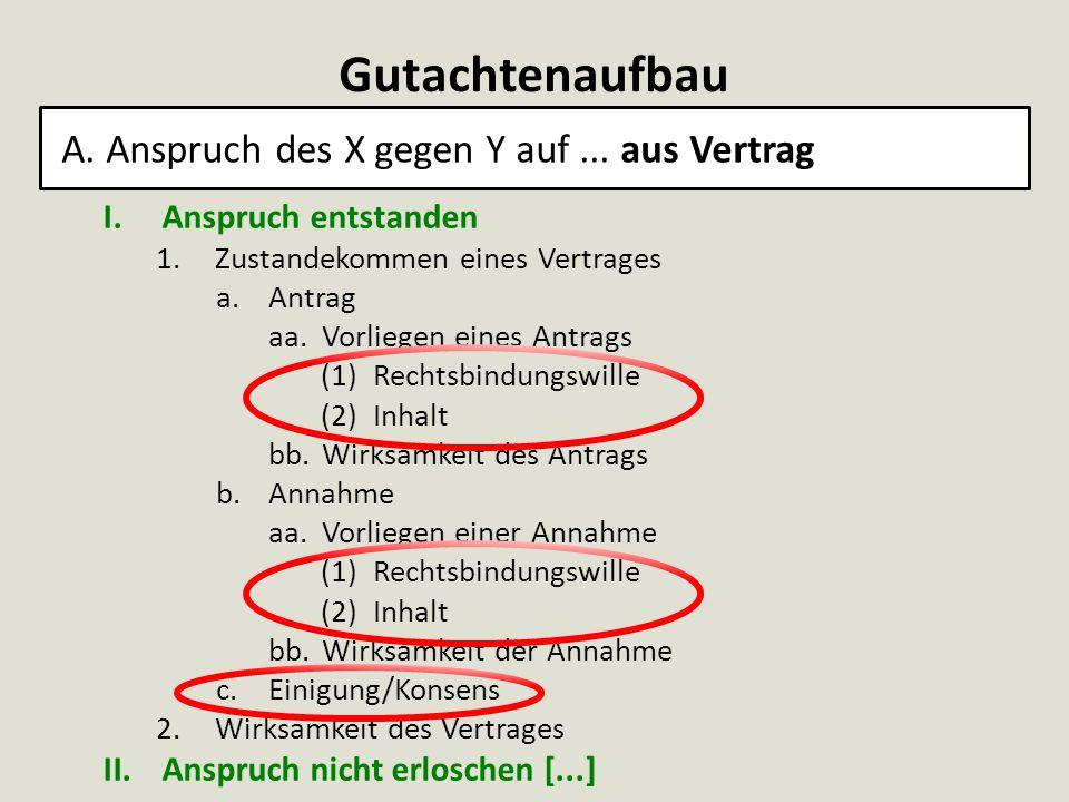 Gutachtenaufbau A. Anspruch des X gegen Y auf... aus Vertrag I.Anspruch entstanden 1.Zustandekommen eines Vertrages a.Antrag aa.Vorliegen eines Antrag