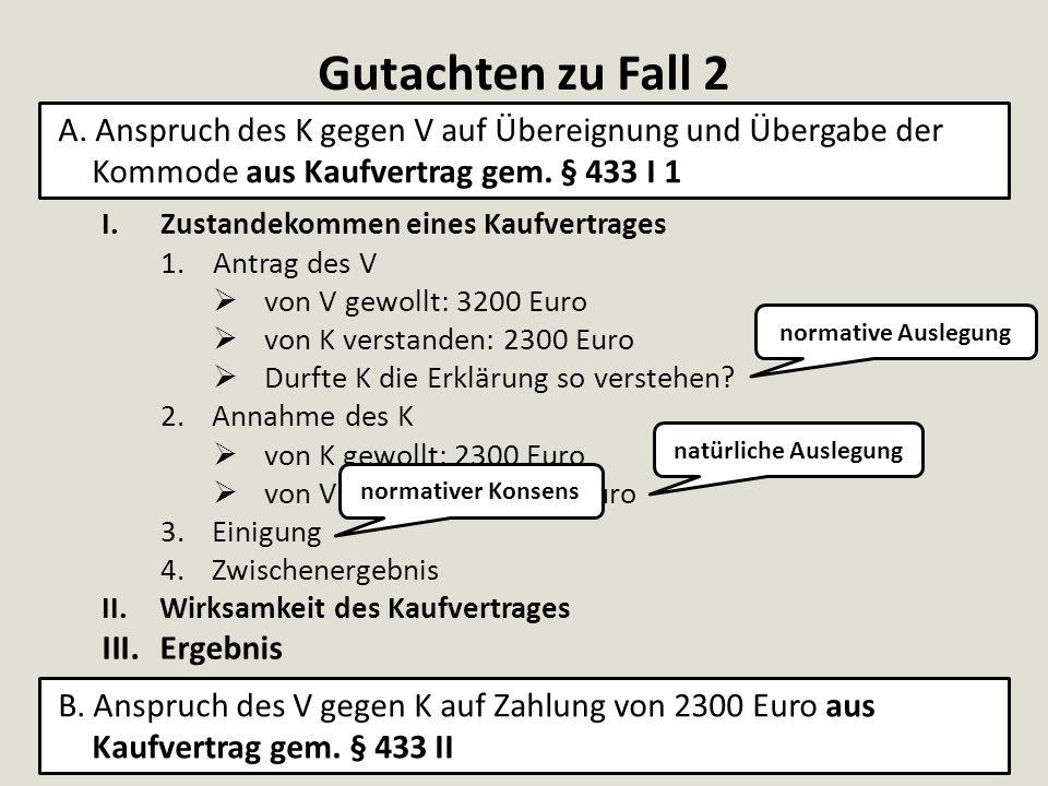 Gutachten zu Fall 2 I.Zustandekommen eines Kaufvertrages 1.Antrag des V  von V gewollt: 3200 Euro  von K verstanden: 2300 Euro  Durfte K die Erklär