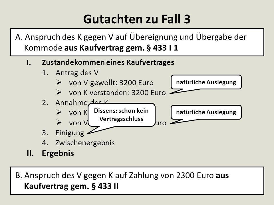 Gutachten zu Fall 3 I.Zustandekommen eines Kaufvertrages 1.Antrag des V  von V gewollt: 3200 Euro  von K verstanden: 3200 Euro 2.Annahme des K  von